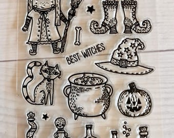 halloween stamps, halloween planner, october daily, witch stamps, witches boots, witches hat, cauldron stamps, spell bottles, pumpkin stamps