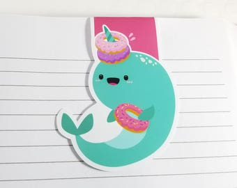 Narwhal and Donuts Magnetic Bookmark, Kawaii Narwhal Planner Clip, Cute Narwhal Planner Accessory for Books, Book Lover Gift