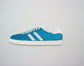 Application, badge, patch, embroidered blue tennis shoes
