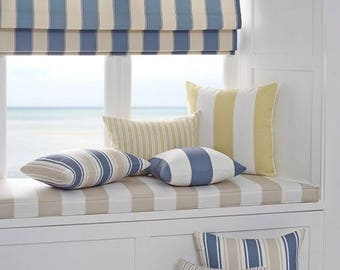 "Flat Roman Shade ""Satin Awning Stripe"" in blue tints, satin roman shade with chain mechanism, roman shades custom"