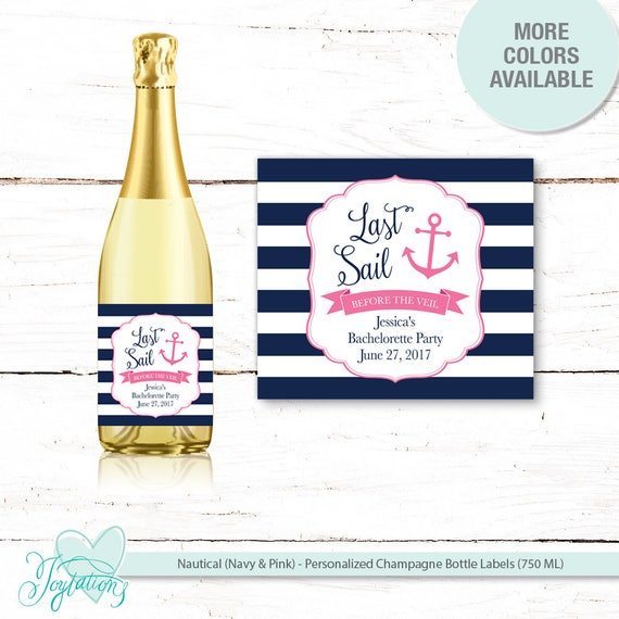 nautical pink and navy champagne bottle lables personalized last