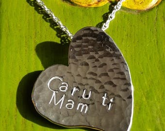Caru ti Mam heart necklace - 'Love you Mum' heart necklace, handmade in Wales