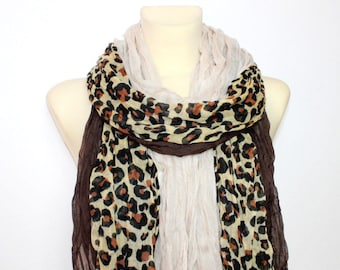 Leopard Print Scarf - Brown Leopard Scarf - Leopard Fabric Scarf - Animal Print Women Fashion Accessories - Gift Ideas for her Summer Autumn