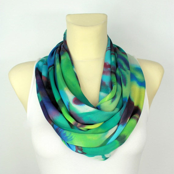 Turquoise Silk Scarf Infinity Scarves Silk Summer Scarf Summer Outdoors Summer Party Womens Summer Accessories Gift Women Birthday Gift Wife