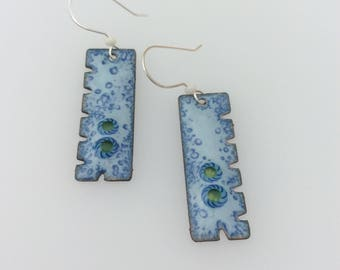 Under the Sea with murrini glass focal enamel copper earrings with Artisan sterling silver ear wires