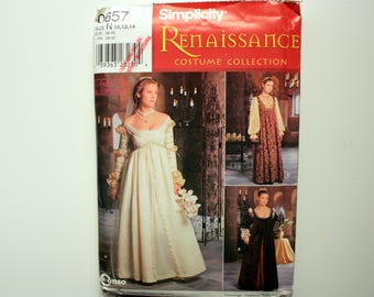Simplicity 0657 UNUSED Pattern, Renaissance Costume, Medieval Dress, Lady in Waiting, Queen Dress, Peasant Dress, ,