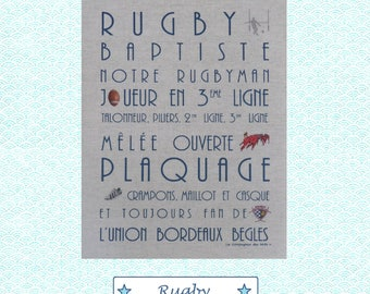 "Custom theme ""RUGBY"" linen canvas"