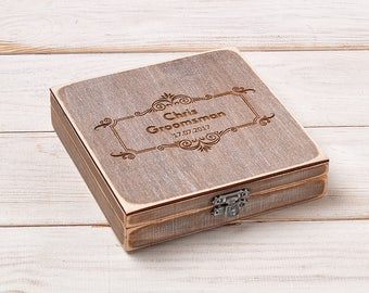 Groomsmen Cigar Gift Box Best Man Cigar Box Groomsmen Gift Personalized Cigar Humidor Wood Box Wedding Gift Box Storage Box Cigar Display