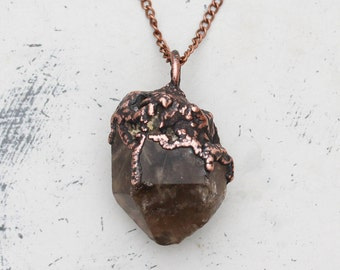 Large Dark Electroformed Rutilated Raw Quartz Crystal Necklace Earthy Witchy Pendant in Oxidized Copper