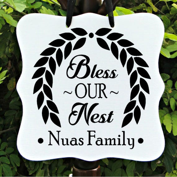 Bless Our Nest Sign, Farmhouse Sign, Personalized Sign, Family Name, Last Name Sign, Wreath Sign, Door Hanger, Door Sign, Housewarming Gift