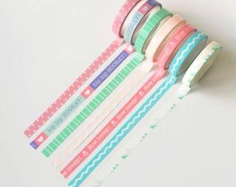 Thin washi tapes (set of 7 rolls)