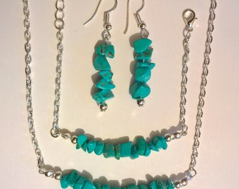 Silver & Turquoise Bar Jewellery Set