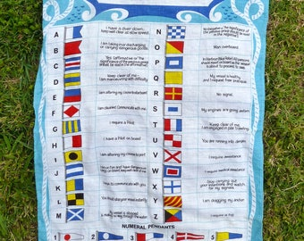 International Code linen by Ulster, featuring code flag and answering pendant, sailing flags and nautical decor, Made in Ireland