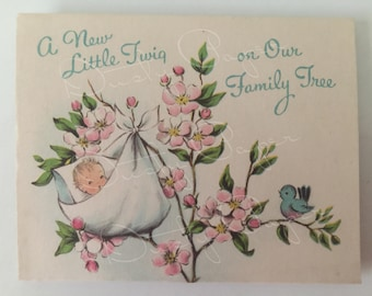 New Baby - Set of 3 Unused Vintage 1950s Baby Announcement Cards