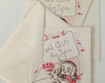 Set of 2 Gift for You - Unused Vintage 1950s Embossed Cards with metallic silver accents