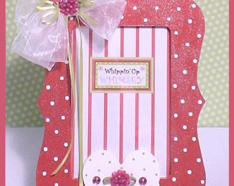 """Raspberry Pink and White Dot Frame - Heart Themed Picture Frame - """"Raspberry Rose"""""""