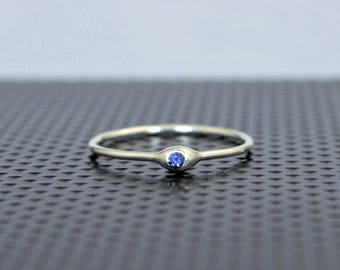 Dainty Sterling Silver Sapphire Mothers Ring, Sapphire Birthstone, Tiny Sapphire Ring, Dew Drop Ring, Stacking Ring, September Birthday Gift
