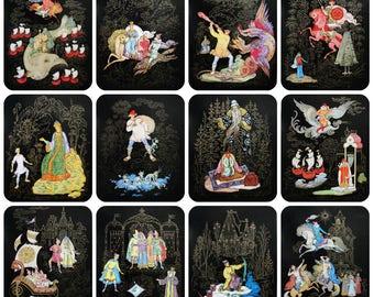 "Russian fairy tales in drawings of E.V. Paskova and E.I. Paskov - Set of 12 Vintage Soviet Prints / Postcards 6""х8"", 1973. Palekh Folk art"