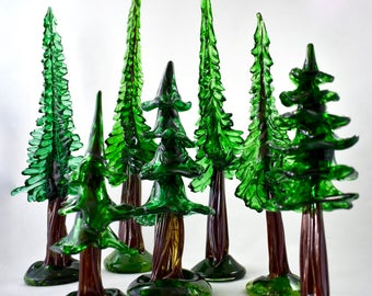 Glass Redwood Tree- hand sculpted glass tree, natural, organic, forest, funky, lifelike, green, nature, sculpture, great one of a kind gift