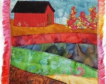 Barn in Autumn Art Quilt / Fiber Art / Autumn Wall Art / Landscape Art Quilt / Landscape Fiber Art / Quilted Wall Hanging / Custom Art Quilt