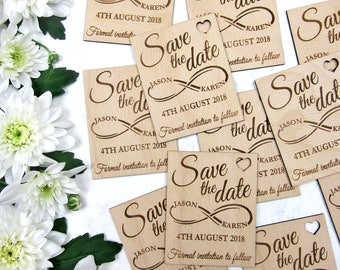 Save the Date Magnet, Infinity Save the Date, Wood Save the Dates, Wedding Invitation, Wedding Favor, Rustic Save the Date, Wooden Magnet
