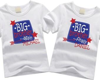 Personalized big brother shirts. Sibling shirt set. Big brother again, big brother finally. Custom sibling shirt SET OF 2. Big brothers