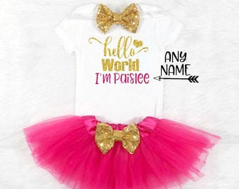 Baby Girl Coming Home Outfit Hello World Newborn Outfit newborn coming home outfit Baby Girl Clothes Newborn Girl Outfit Personalized