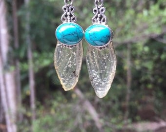 Cicada wings earrings handmade cast in resin with turqoise and sterling silver from new zealand