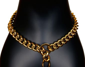 """Gold Plated Stainless Steel Heavy Duty Welded Links Dog Chain Slip Choke Collar for Large Breeds 0.8"""" wide"""