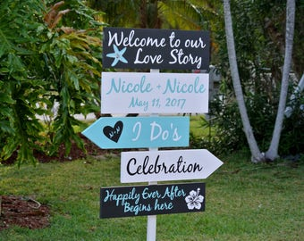 Wedding welcome sign/Welcome to our Love Story, Beach Wedding Decor, Happily Ever After Wedding Gift Idea