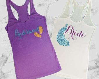 Peacock Bridal/Bachelorette Shirts Purple, Aqua and Old Gold Glitter, Bridal Tanks, Bachelorette Tanks