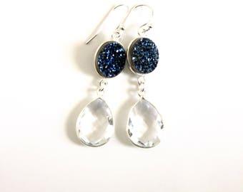 Blue Druzy Crystal Earrings Bridal Earrings 2017 My Something Blue Drop Earrings Statement Earrings Gift for Women Anniversary Gift Drusy