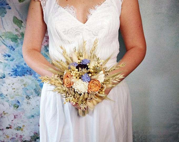 Wheat dried wedding bouquet ivory orange lavender sola flowers rustic autumn fall harvest oat grain grass burlap lace  bridesmaid bridal