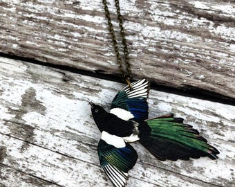 Magpie Necklace, Magpie Pendant, Bird Jewellery, Bird Jewelry, Magpie Jewellery, Magpie Jewelry, Bird Lover Gift