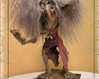 Mountain Witch Sculpture. Halloween Witch Sculpture created in Leather OOAK