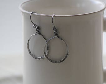 silver hoop earrings, hammered silver hoops, boho earrings, bohemian, gypsy jewelry, rustic silver earrings, edgy earrings, handmade