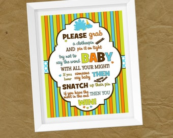 DINOSAUR Baby Shower CLOTHESPIN GAME 8x10 - Instant Download Don't Say Baby Clothes Pin