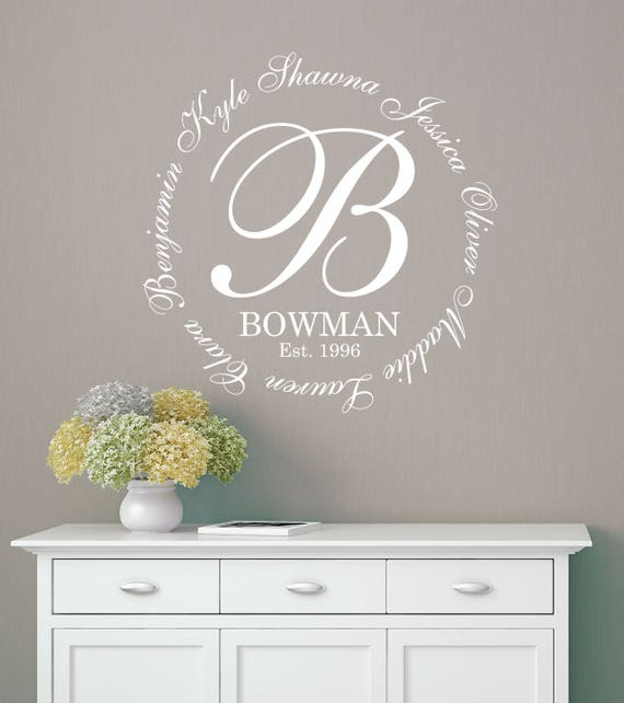 Family Monogram Names Wall Decal LARGE Wall Decal Family - Family monogram wall decals