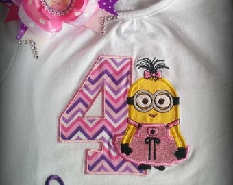 Girl minion embroidered birthday shirt with name.