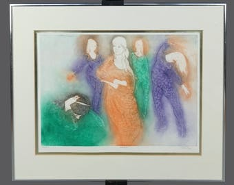 "Mid-Century David Silverberg Signed Etching ""Dancers"" Limited Edition 63/120"
