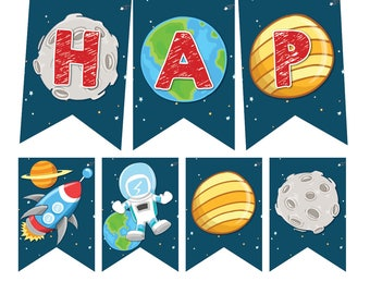 Space Birthday Bunting, Space Birthday Banner, Space Birthday, Space Birthday Party, outer space party, Instant Download