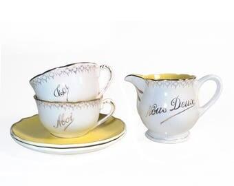French Coffee Tea Set, Sarreguemines Digoin, Nous Deux Milk Chocolate Jug Creamer, Gilt Yellow Toi Moi Tea Cup & Saucer