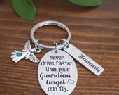 Guardian Angel Keychain | New Driver Keychain | Sweet 16 Gift | Sweet 16 Keychain | New Driver Gifts | New Driver Gift | Gift For New Driver
