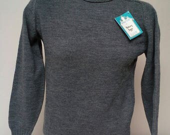 Vintage Gray 100% Virgin Wool Pullover Turtleneck Sweater by Sweaters by Hickory House Ltd New Old Stock with Original Tag