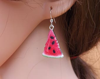 Melon earrings, fruit earrings, food jewellery, melon jewellery, summer jewellery, fun earrings, festival jewellery, food earrings
