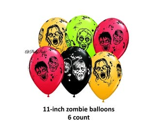 zombie balloons, Halloween party decorations, fun zombies, spooky, brains, undead, monsters, scary, creepy, party supplies, dead, creatures