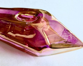 Healing Chakra Pink and Gold Crystal Shaped Glass Pipe, Glass Pipe for Harmony, Love, Power and Healing.