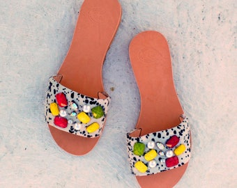 slippers/ leather sandals/ black and white pony skin /stones  and pearl/ greek sandals
