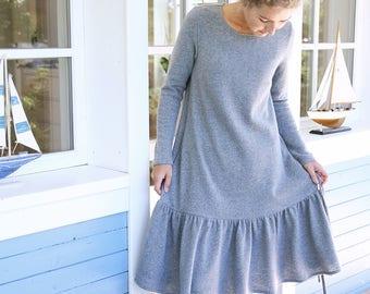 Merino Wool Dress | Handmade Wool Tunica | Loose Dress | Pleated Dress | Oversized dress | Wide Dress | Women Dress | Long Sleeves Dress