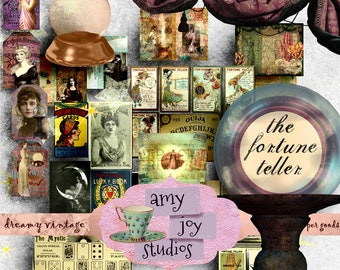 The Fortune Teller  Digital Journal Kit   Printable Journal  junk journal  mini album  ephemera pack  Bohemian  junk journal vintage